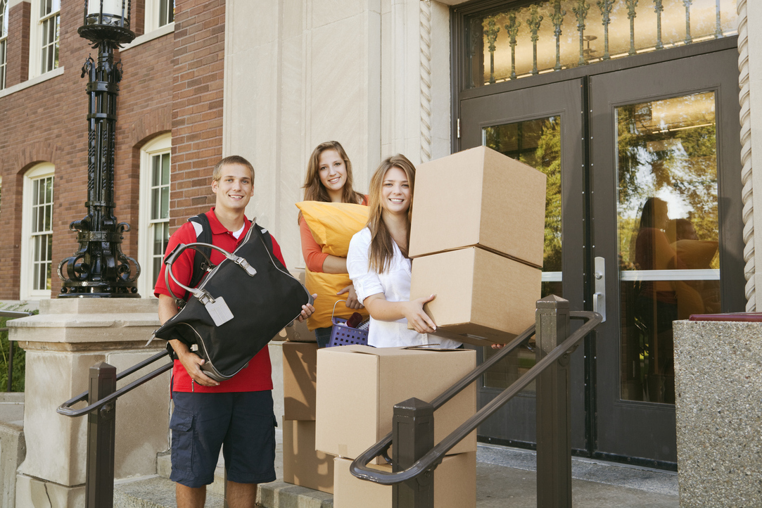 Students Moving into the University Campus Dormitory Hz